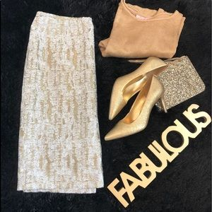 Calvin Klein Ivory & Gold Metallic Skirt